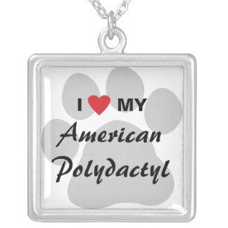 Amo a mi americano polidáctilo colgante cuadrado