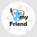 Amo a mi amigo - autismo pegatinas redondas