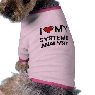 Amo a mi analista de sistemas camiseta con mangas para perro