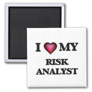 Amo a mi analista del riesgo imán cuadrado