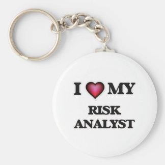 Amo a mi analista del riesgo llavero redondo tipo pin