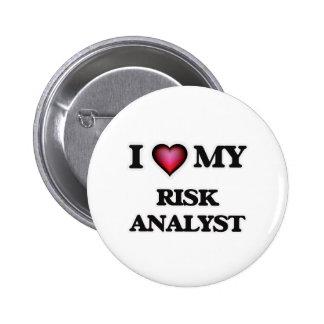 Amo a mi analista del riesgo pin redondo de 2 pulgadas