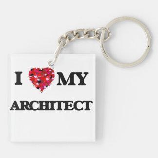 Amo a mi arquitecto llavero cuadrado acrílico a doble cara