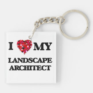 Amo a mi arquitecto paisajista llavero cuadrado acrílico a doble cara