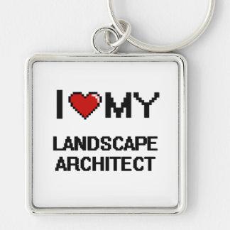 Amo a mi arquitecto paisajista llavero cuadrado plateado