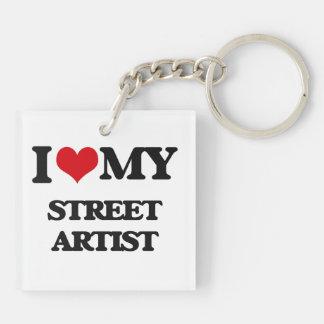 Amo a mi artista de la calle llavero cuadrado acrílico a doble cara