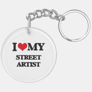 Amo a mi artista de la calle llavero redondo acrílico a doble cara
