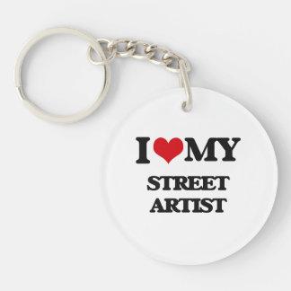 Amo a mi artista de la calle llavero redondo acrílico a una cara