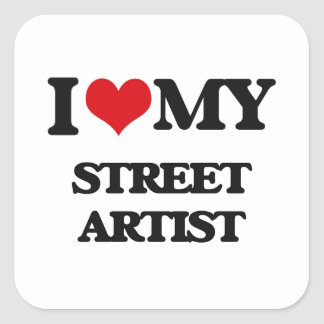 Amo a mi artista de la calle pegatina cuadrada