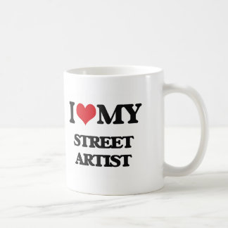 Amo a mi artista de la calle taza básica blanca