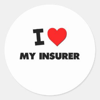 Amo a mi asegurador pegatina redonda