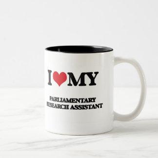 Amo a mi asistente de investigación parlamentario taza de café