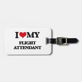 Amo a mi asistente de vuelo etiquetas bolsas