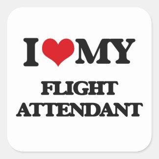 Amo a mi asistente de vuelo pegatina cuadrada