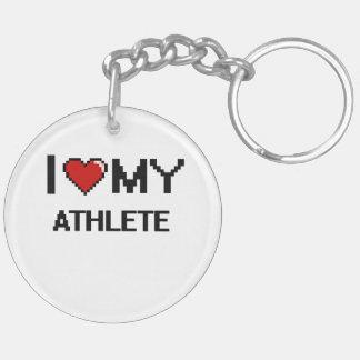 Amo a mi atleta llavero redondo acrílico a doble cara