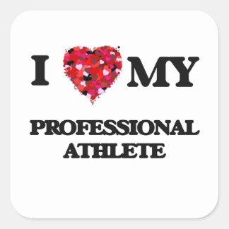 Amo a mi atleta profesional pegatina cuadrada
