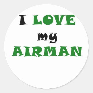 Amo a mi aviador pegatina redonda
