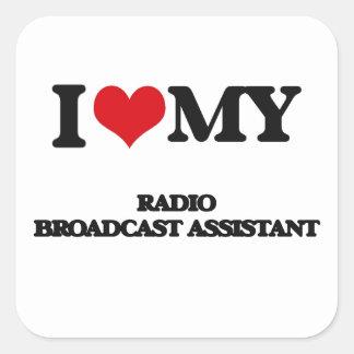 Amo a mi ayudante de la emisión de radio pegatina cuadradas personalizadas