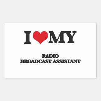 Amo a mi ayudante de la emisión de radio rectangular pegatinas