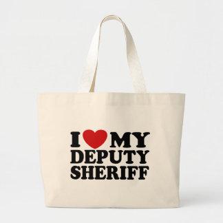 Amo a mi ayudante del sheriff bolsa tela grande