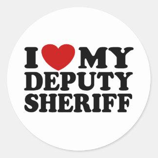 Amo a mi ayudante del sheriff pegatina redonda