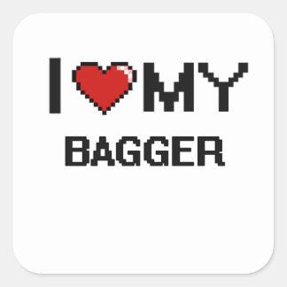Amo a mi Bagger Pegatina Cuadrada