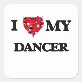 Amo a mi bailarín pegatina cuadrada