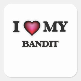 Amo a mi bandido pegatina cuadrada