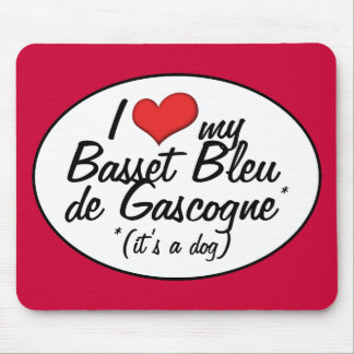 Amo a mi Basset Bleu de Gascogne (es un perro) Tapetes De Ratones