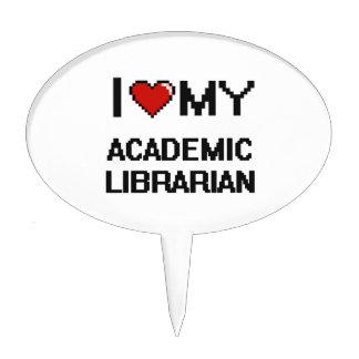 Amo a mi bibliotecario académico figuras de tarta