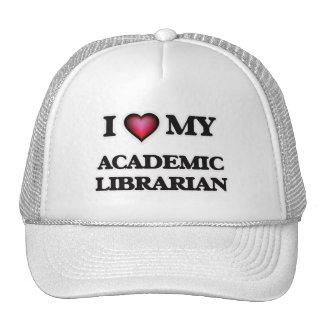 Amo a mi bibliotecario académico gorros bordados