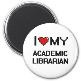Amo a mi bibliotecario académico imán redondo 5 cm