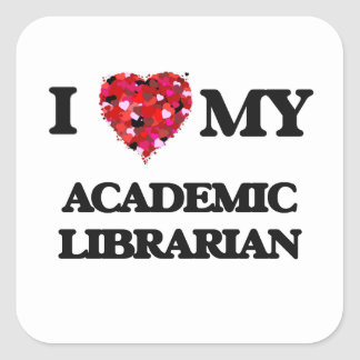 Amo a mi bibliotecario académico pegatina cuadrada