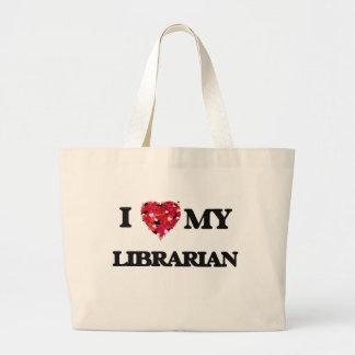 Amo a mi bibliotecario bolsa tela grande