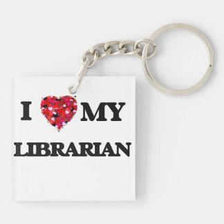 Amo a mi bibliotecario llavero cuadrado acrílico a doble cara