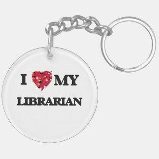 Amo a mi bibliotecario llavero redondo acrílico a doble cara