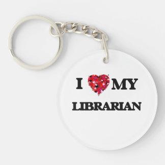 Amo a mi bibliotecario llavero redondo acrílico a una cara