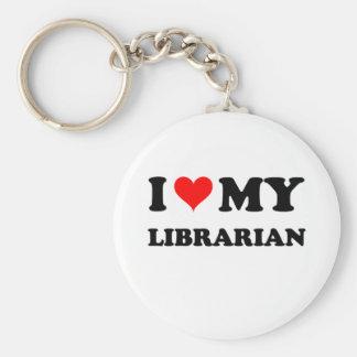 Amo a mi bibliotecario llavero redondo tipo pin