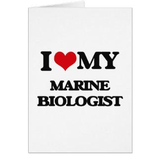 Amo a mi biólogo marino tarjeta de felicitación