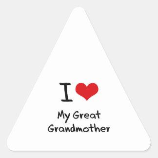 Amo a mi bisabuela calcomanías trianguladas personalizadas