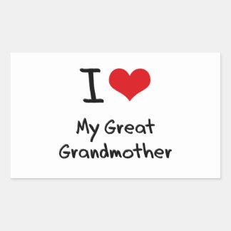 Amo a mi bisabuela rectangular pegatinas