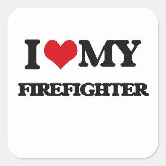 Amo a mi bombero etiquetas