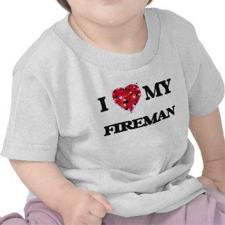 Amo a mi bombero camiseta