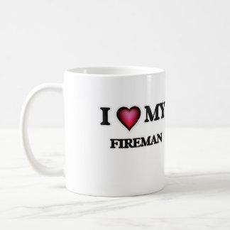 Amo a mi bombero taza clásica