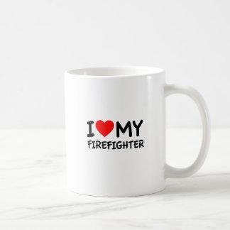 Amo a mi bombero taza de café