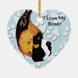 Amo a mi boxeador adorno navideño de cerámica en forma de corazón