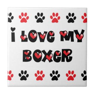 Amo a mi boxeador azulejo cuadrado pequeño