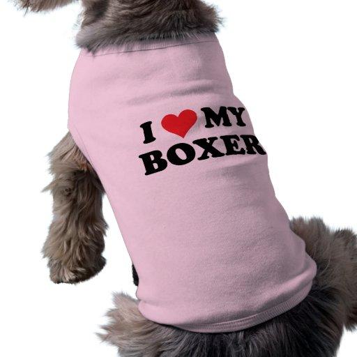 Amo a mi boxeador camisas de mascota
