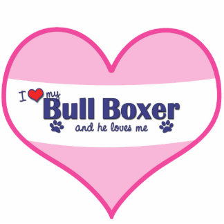 Amo a mi boxeador de Bull (el perro masculino) Adorno Fotoescultura