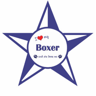 Amo a mi boxeador (el perro femenino) adorno fotoescultura